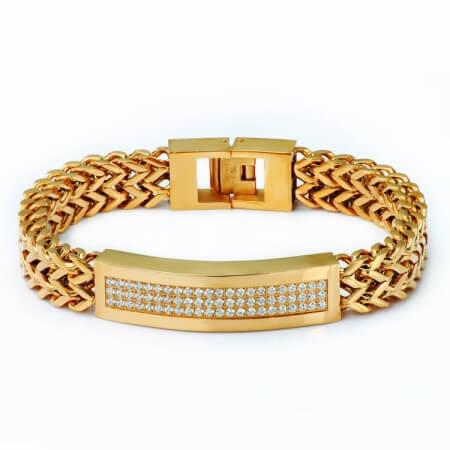 CNC Setting Vacuum Plating Gold Chain Bracelets
