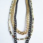 Multi stands metallic chain necklace
