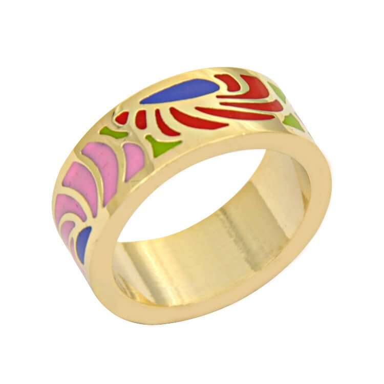 rings lyst white stackable metallic tuleste gold product enamel in jewelry market normal