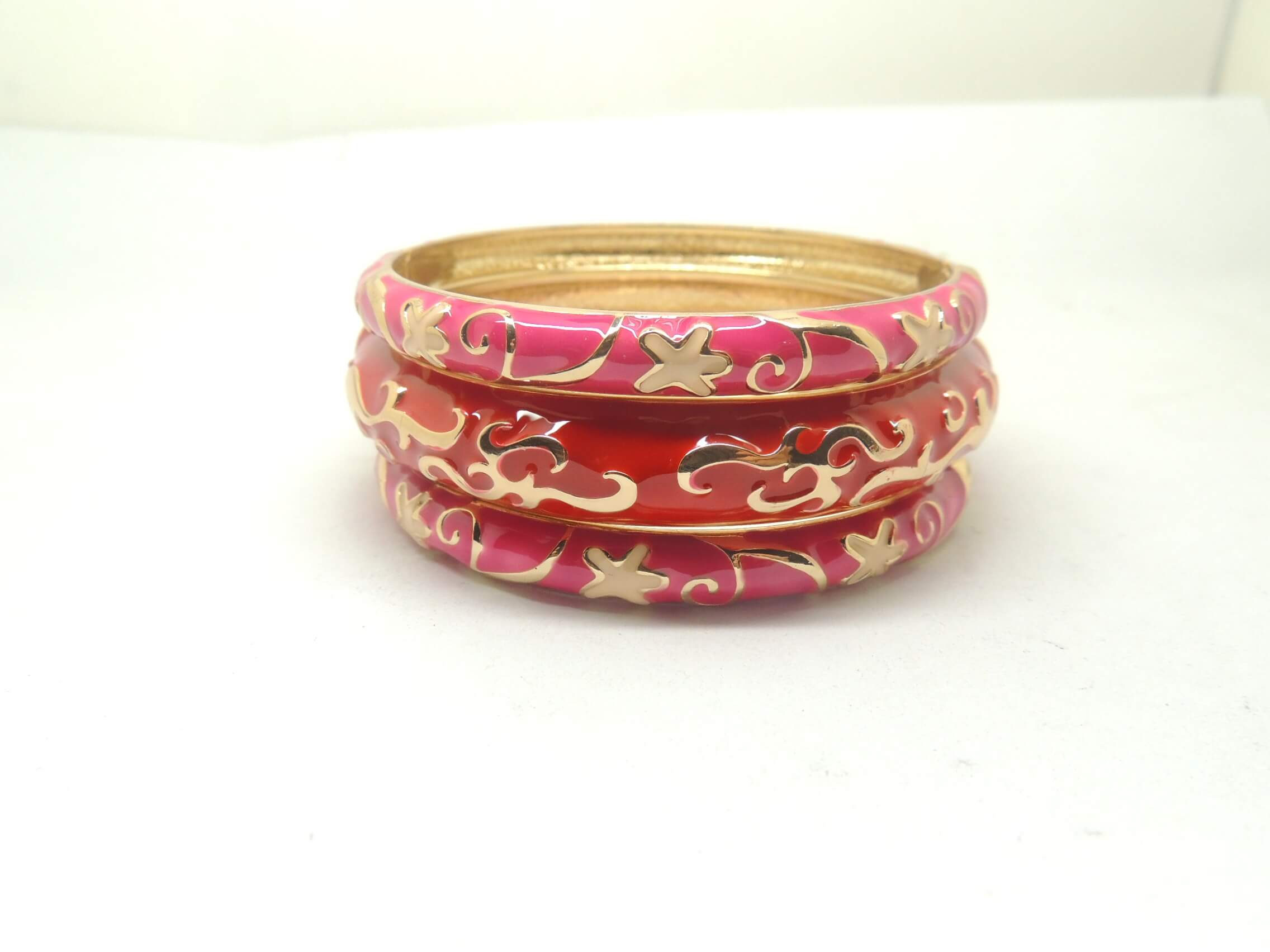 Hinged Enamel Bangle Bracelets