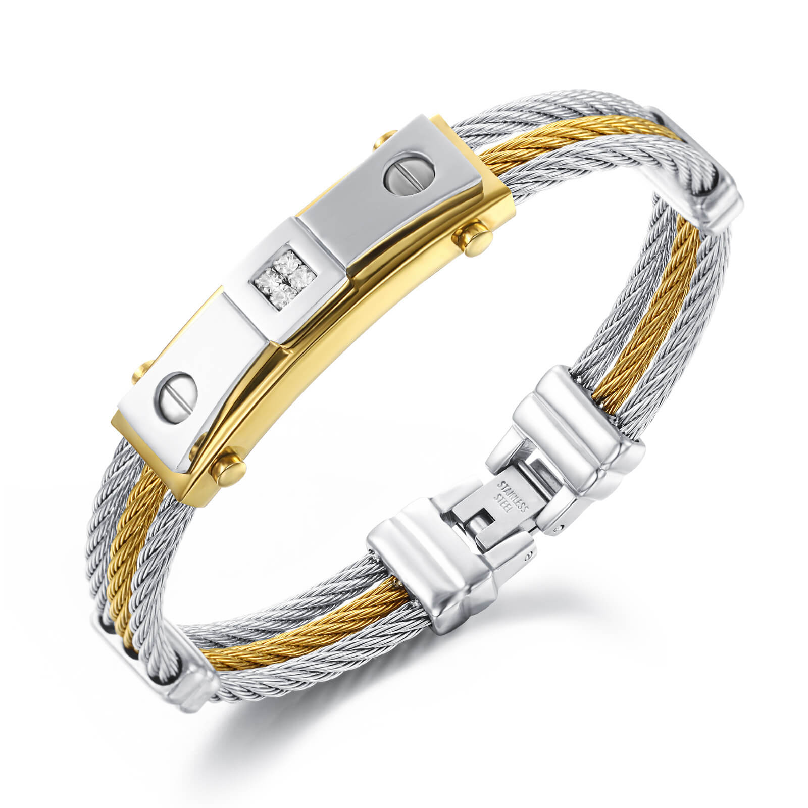 316l Stainless Steel Mens Bracelets Factory IP Gold Quality