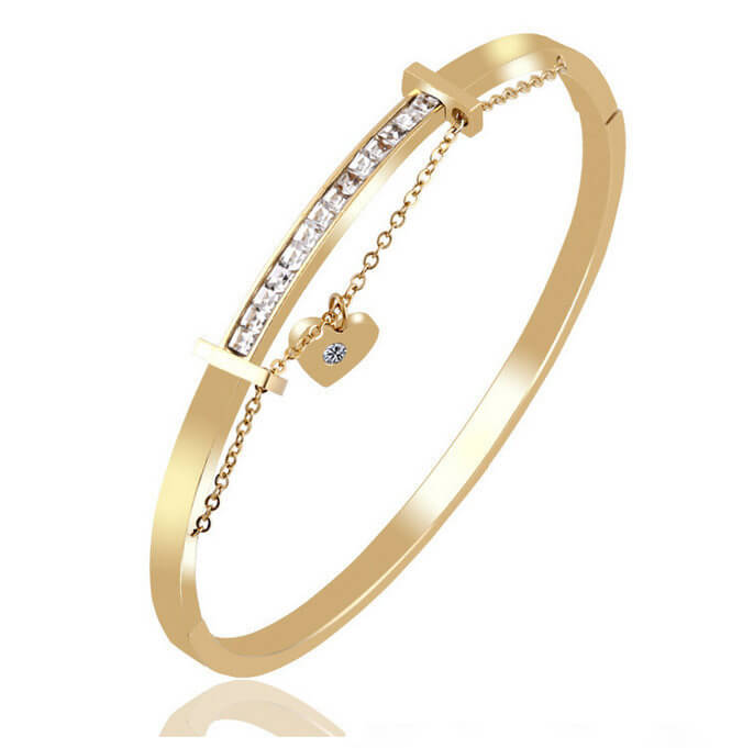 Gold Plated Stainless Steel Bracelets with Heart Shape Pendant