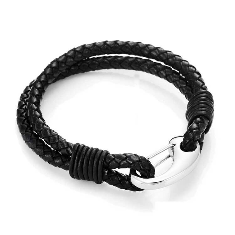 Genuine Leather Mens Bracelets with Stainless Steel Clasp Quality
